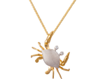 18mm 14K Two Tone Crab Pendant With 2 Diamonds
