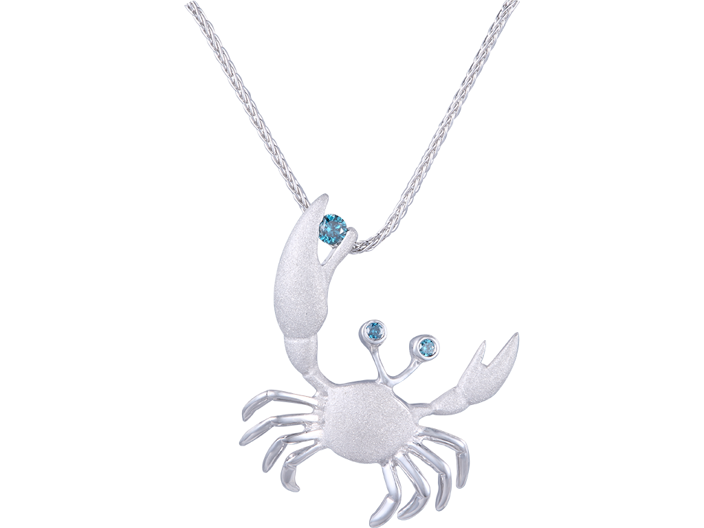 Denny Wong 22mm 14K White Gold Crab Pendant With 3 Blue Diamonds
