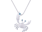 22mm 14K White Gold Crab Pendant With 3 Blue Diamonds