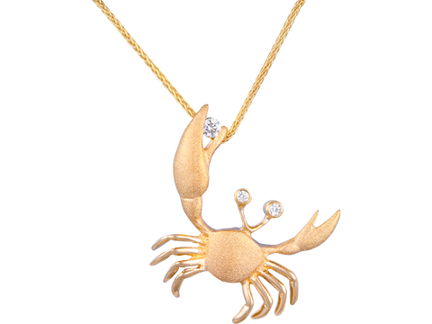22mm 14K Yellow Gold Crab Pendant With 3 Diamonds
