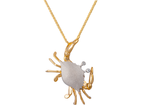 25mm 14K Two Tone Crab Pendant With 2 Diamonds