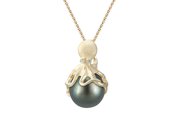 Gold Octopus Pendant With 11mm Tahitian Pearl & Diamonds