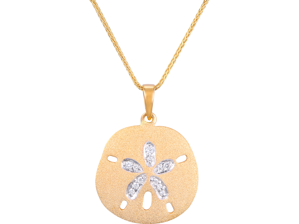 Denny Wong 15mm 14K Sand Dollar Pendant With 5 Diamonds