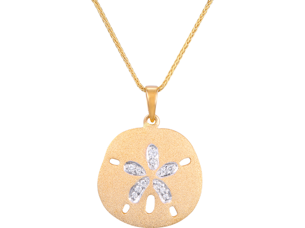 15mm 14K Sand Dollar Pendant With 5 Diamonds