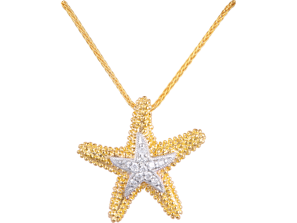 Denny Wong 14K Sea Star Pendant With 11 Diamonds