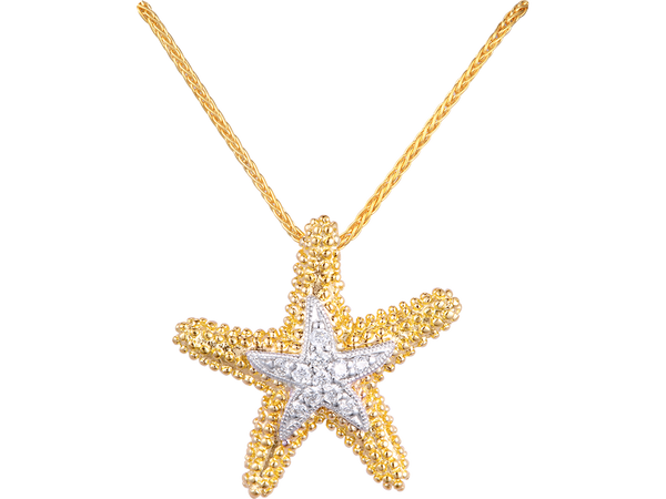 14K Sea Star Pendant With 11 Diamonds