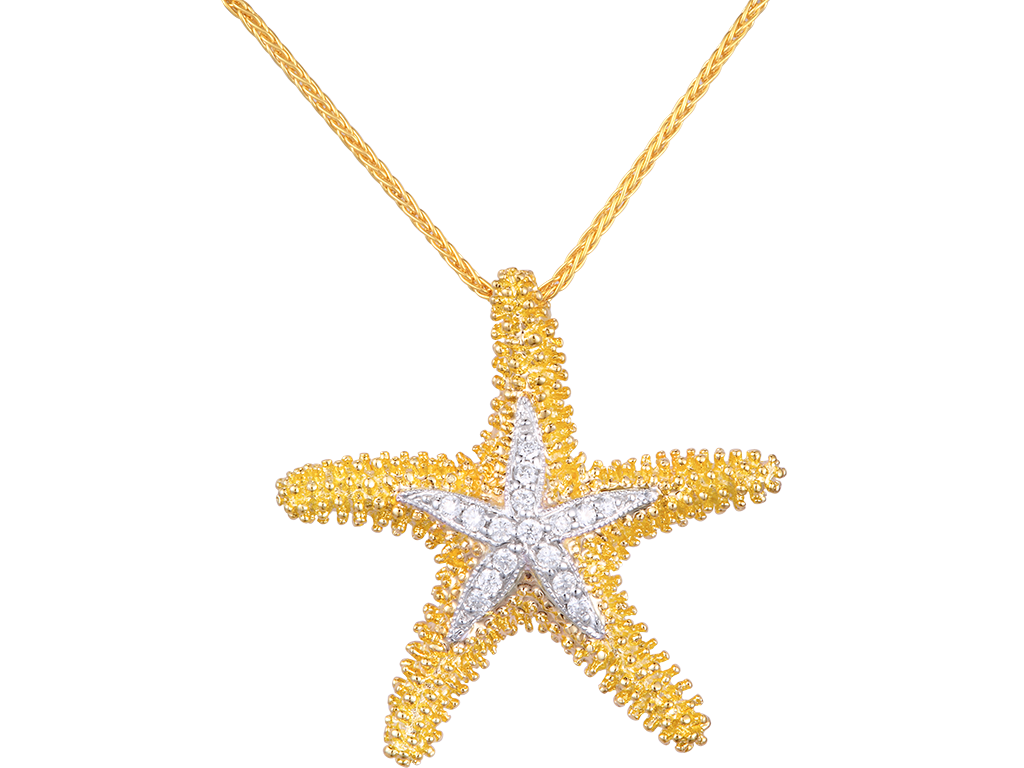 Denny Wong 14K Sea Star Pendant With 16 Diamonds