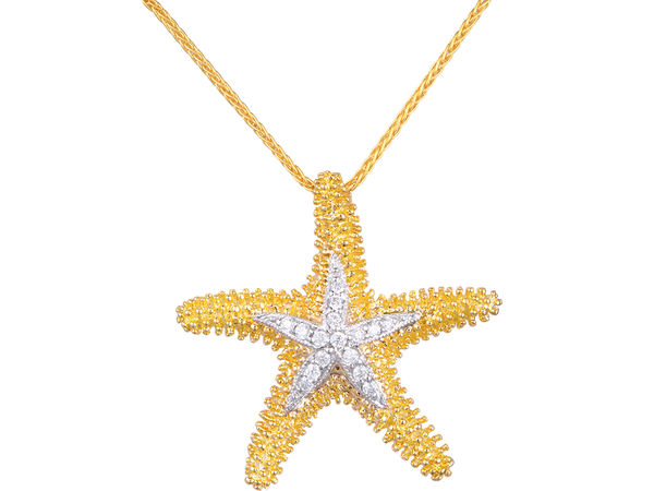 14K Sea Star Pendant With 16 Diamonds