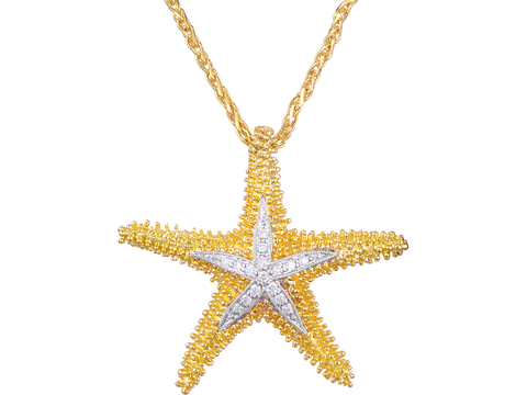 14K Two Tone Sea Star Pendant With 16 Diamonds