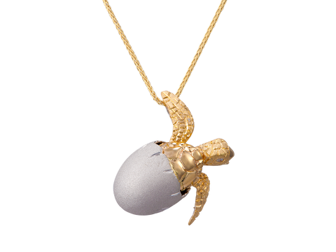 14K Two Tone Hatching Turtle Pendant With 2 Diamonds