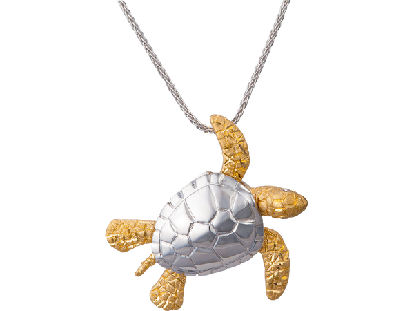 14K Two Tone Sea Turtle Pendant With 2 Diamonds
