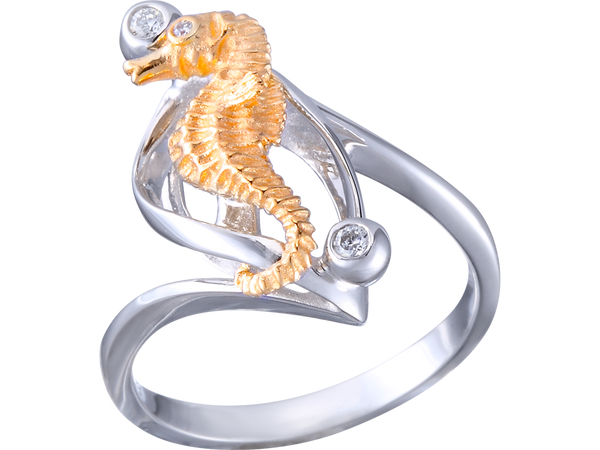 14K Two-Tone Single Seahorse Ring With 3 Diamonds