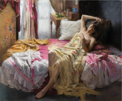 Vicente Romero Painting Woman on Bed Posing