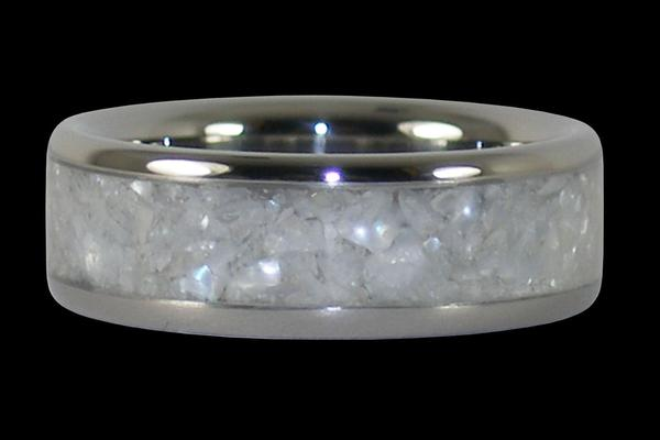 White Pearl Titanium Ring