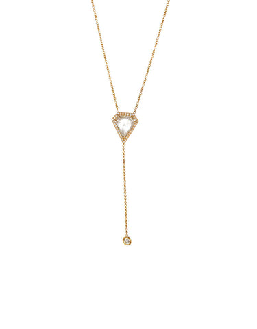 Kite Lariat Necklace with Bezel Diamond Drop