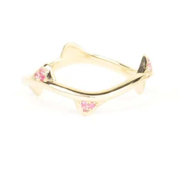 White Cap Ring 18K Yellow Gold Pink Sapphires