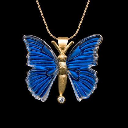 14K Yellow Gold with Diamond Butterfly Pendant