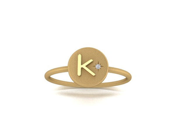 18K Gold Initial Ring w/ Diamond