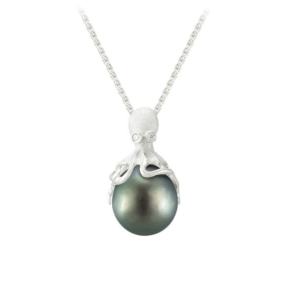 White Gold Octopus Pendant With 11mm Tahitian Pearl & Diamonds