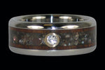 Black Pearl and Koa Diamond Titanium Ring