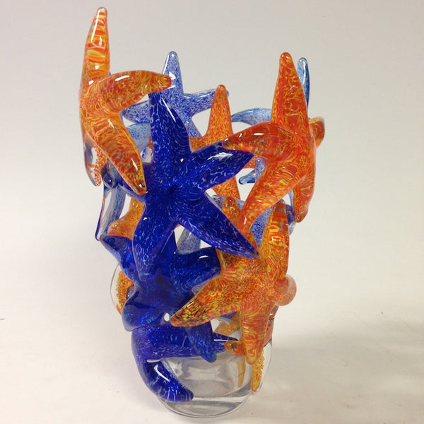 Blue and Orange Starfish Cluster Vase