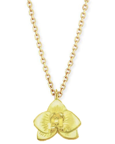 14K Gold Orchid Necklace
