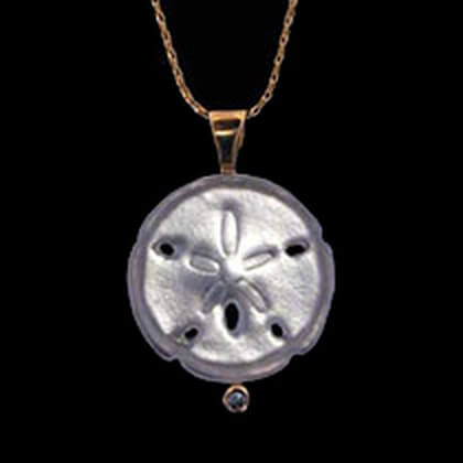 14K Yellow Gold with Diamond Sand Dollar Pendant