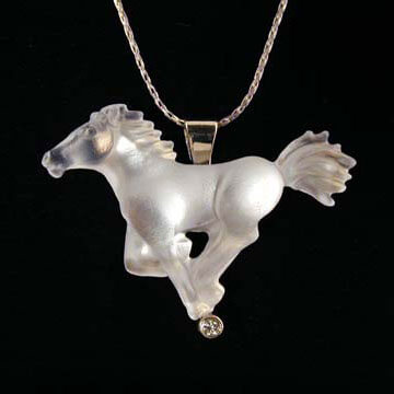 14K Yellow Gold with Diamond Spirit Horse Pendant