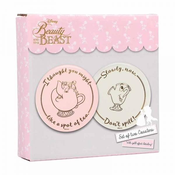 BEAUTY AND THE BEAST COASTERS (SET OF 2) - MRS POTTS & CHIP
