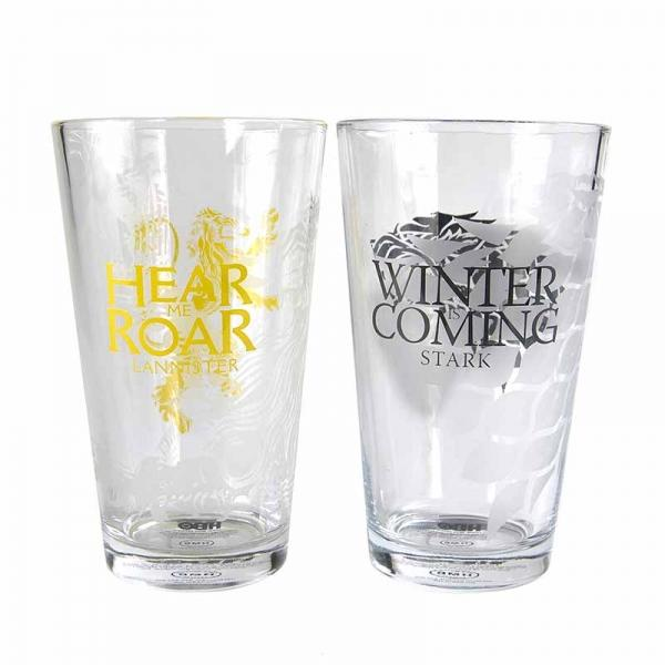 GAME OF THRONES LARGE GLASSES (SET OF 2) - STARK & LANNISTER