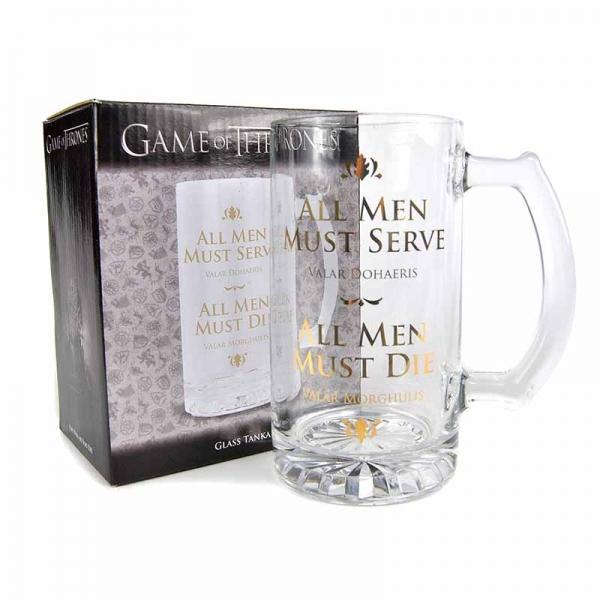 GAME OF THRONES GLASS TANKARD - ALL MEN