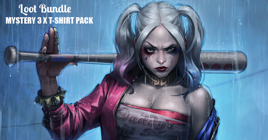Harley Quinn Inspired 3 x Mystery T-Shirt Pack for £19.98