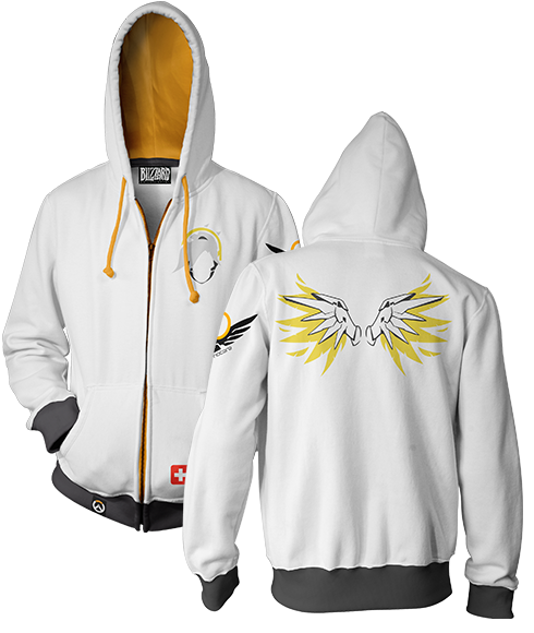 OVERWATCH ULTIMATE MERCY ZIP-UP HOODIE & FREE OVERWATCH TEE OFFER