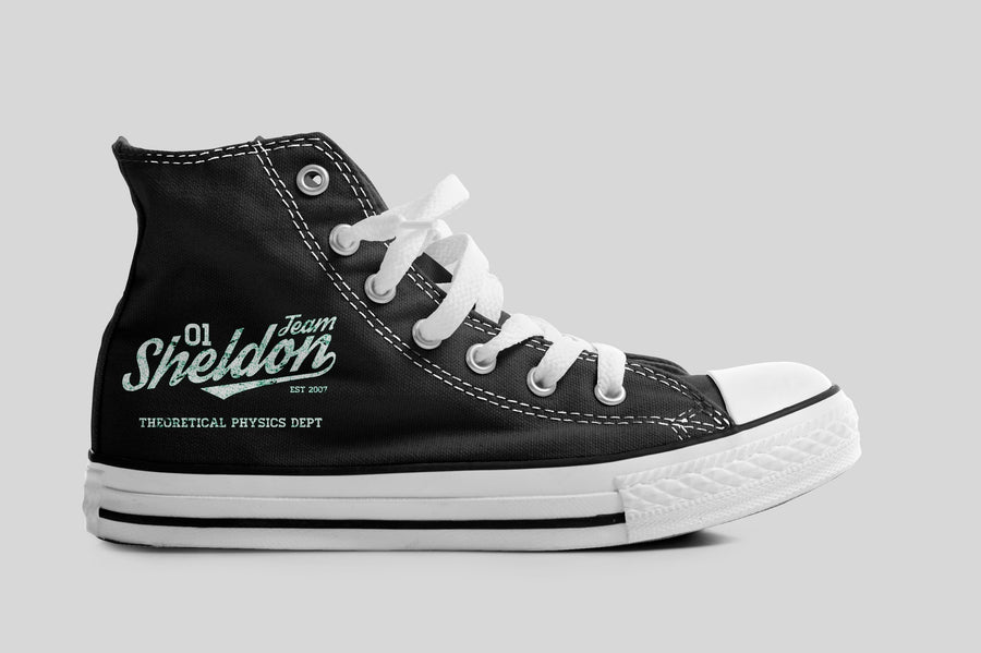 Big Bang Theory Inspired 'Team Sheldon' Black Hi-Top Canvas Boots Trainers