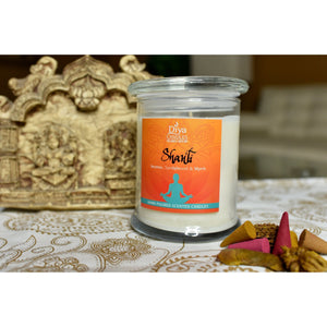 Shanti - Agarbatti (incense), Chandan (sandalwood),floral mixture-Premium Scented Soy Candle