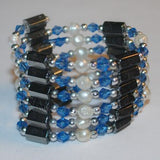 Sapphire Hematite and Pearl - Bracelet/Necklace