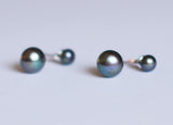 Stud & Drop in 1 Black Pearl Earrings