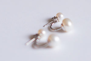 Stud & Drop in 1 White Pearl Earrings