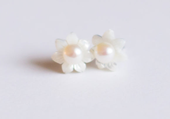 Oyster & Pearl Stud Earrings