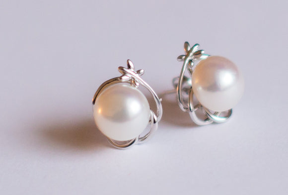 Sterling Silver & White Pearl Studs