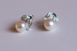 Sterling Silver & White Pearl Stud Earrings