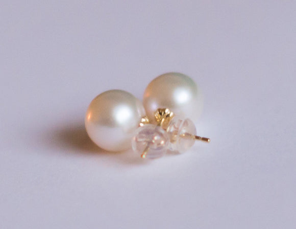 14k Gold & Pearl Stud Earrings
