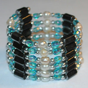 Aqua Hematite and Pearl Bracelet/Necklace