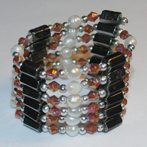 Amber Hematite and Pearl Bracelet/Necklace
