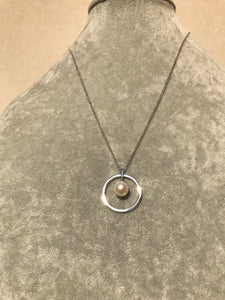 Pearl in Sterling Circle Necklace