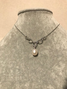 Sterling Link & Pearl Necklace