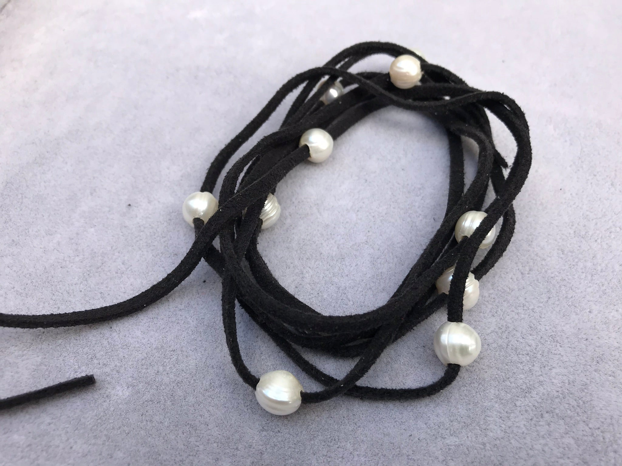Leather Rope with Pearls