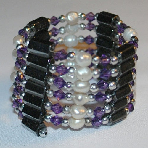 Grape Hematite and Pearl Bracelet/Necklace