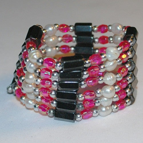 Hot Pink Hematite and Pearl Bracelet/Necklace
