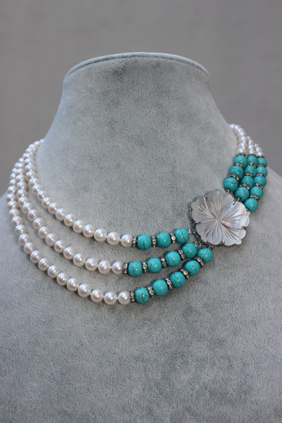 Triple Stand Pearl & Turquoise Necklace